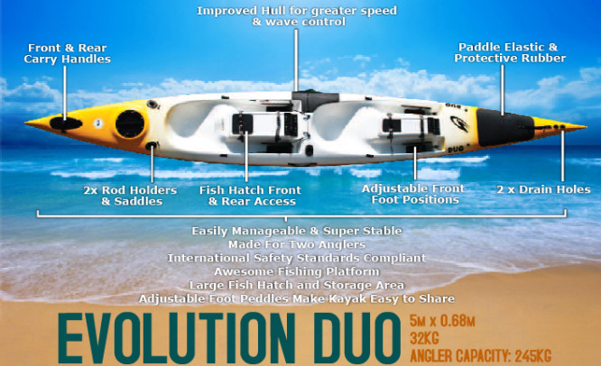 Stealth, Evolution Duo, Fishing Kayak, Fishingski, Fishingski, Durban, South Africa,